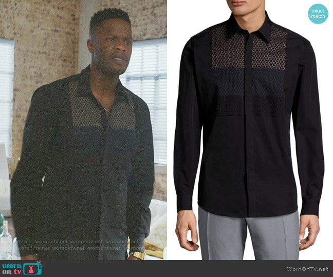 Honeycomb Cotton Button-Down Shirt by Salvatore Ferragamo worn by Sam Adegoke on Dynasty
