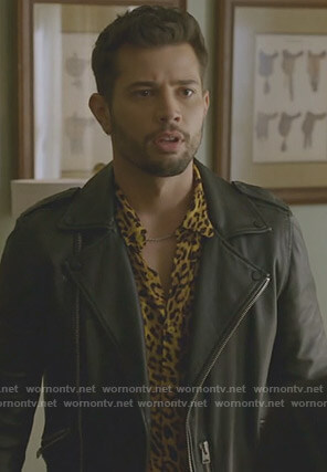 Sam's leopard print shirt and leather moto jacket on Dynasty