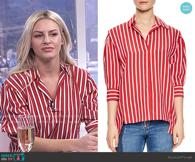 Cherie Striped Puff-Sleeve Top by Sandro worn by Morgan Stewart  on E! News