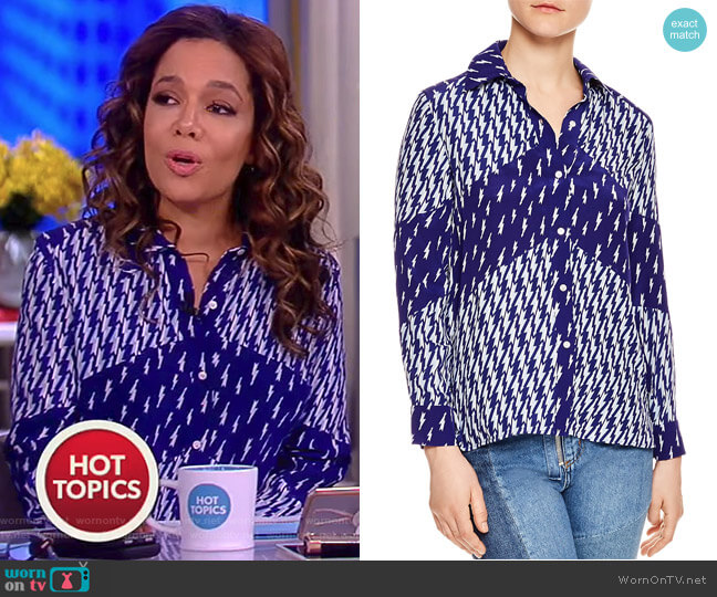 Cinie Lightning Bolt Print Shirt by Sandro worn by Sunny Hostin  on The View