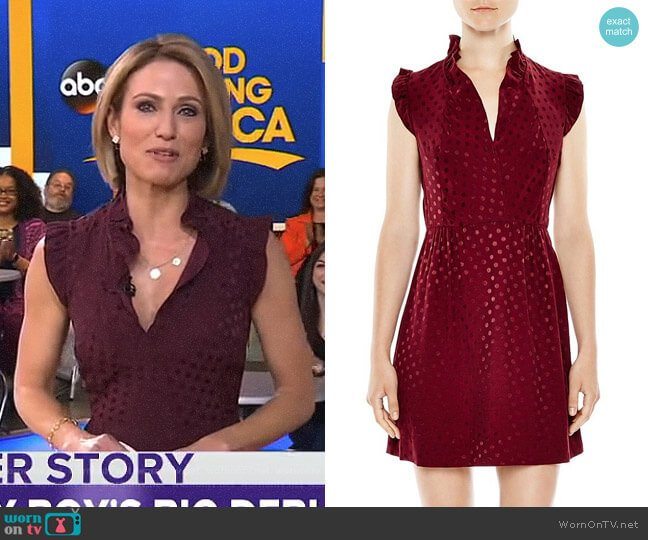 'Jasmine' Dot Print Dress by Sandro worn by Amy Robach on Good Morning America