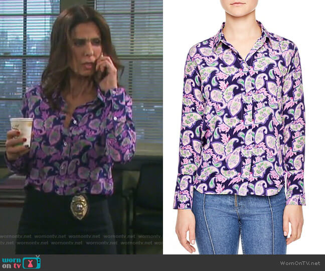 Meg Paisley Print Silk Shirt by Sandro worn by Hope Williams (Kristian Alfonso) on Days of our Lives