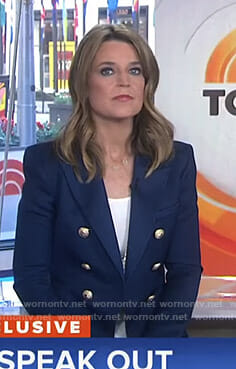 Savannah's navy blazer with gold buttons on Today