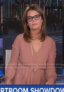 Savannah's pink long sleeved v-neck dress on Today