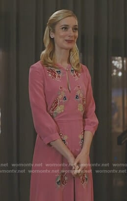 Serena's pink floral keyhole dress on UnReal