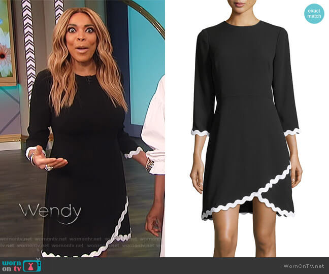 Sutter 3/4 Sleeves Faux-Wrap Scalloped Dress by Shoshanna worn by Wendy Williams  on The Wendy Williams Show
