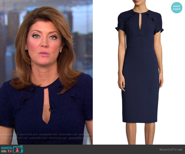 'Santamarie' Pencil Dress by Shoshanna worn by Norah O'Donnell on CBS This Morning