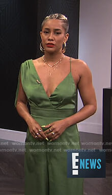 Sibley's green asymmetric jumpsuit on E! News
