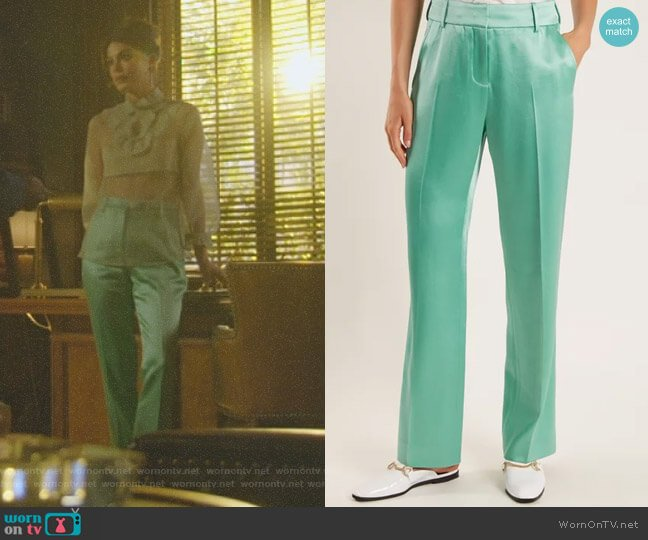 Tatum Satin Trousers by Sies Marjan worn by Nathalie Kelley on Dynasty
