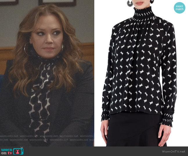 Smocked Punto Dot Lace Silk Blouse by Akris Punto worn by Leah Remini on Kevin Can Wait
