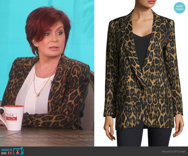 Leopard Print Notch Lapel Blazer by Smythe worn by Sharon Osbourne  on The Talk