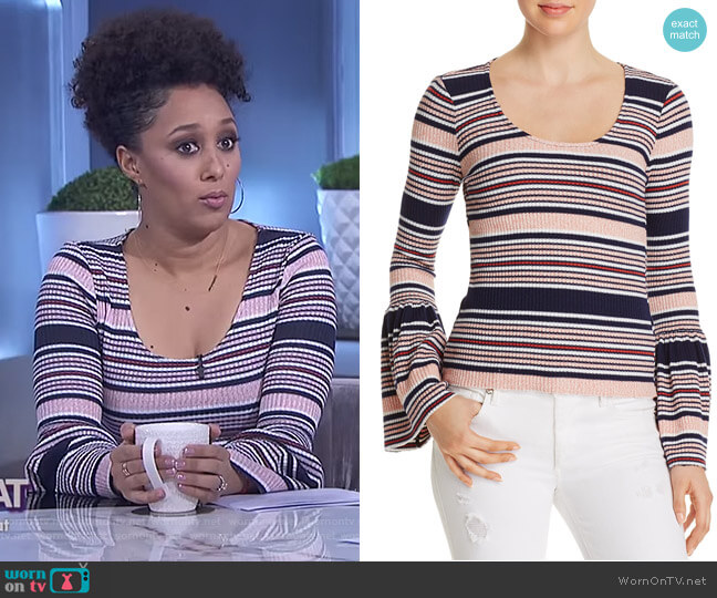 Striped Bell Sleeve Top by Splendid worn by Tamera Mowry on The Real
