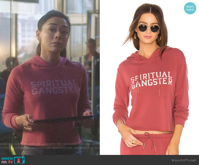 Varsity Crop Hoodie by Spiritual Gangster worn by Ella Lopez (Aimee Garcia) on Lucifer