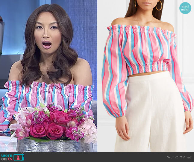 Fair off-the-shoulder striped stretch-cotton poplin top by Staud worn by Jeannie Mai  on The Real