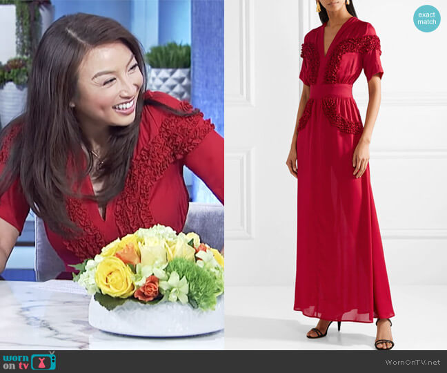 Isa ruffled chiffon dress by Staud worn by Jeannie Mai on The Real