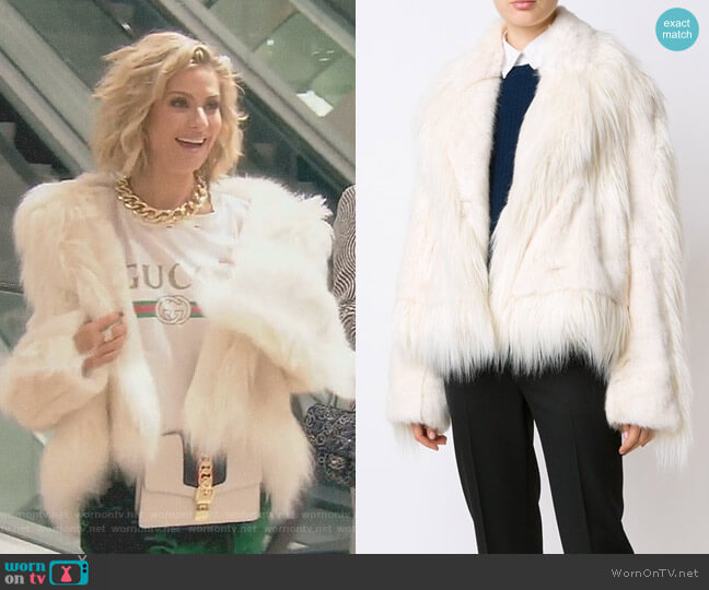 Oversized Faux-Fur Jacket by Stella McCartney worn by Dorit Kemsley on The Real Housewives of Beverly Hills