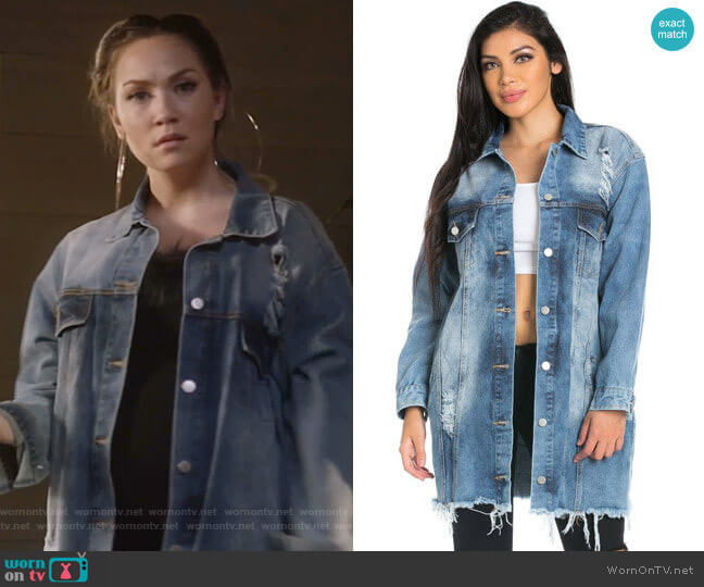 Stone Washed Oversized Distressed Denim Jacket by Soho Girl worn by Star Davis (Jude Demorest) on Star