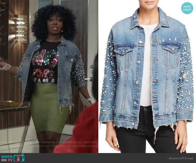 Embellished Denim Jacket by Sunset & Spring worn by Ta'Rhonda Jones on Empire