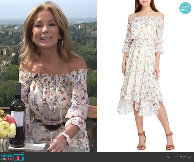 Off-the-Shoulder Floral Ruffle Dress by Tahari ASL worn by Kathie Lee Gifford on Today
