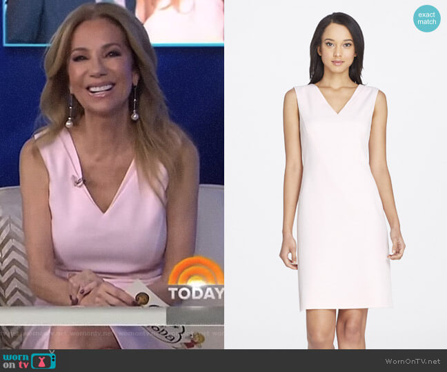V-Neck Stretch Twill Sheath by Tahari ASL worn by Kathie Lee Gifford on Today