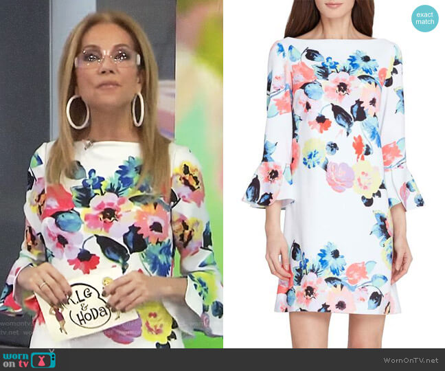 Floral Bell Sleeve Shift Dress by Tahari worn by Kathie Lee Gifford on Today