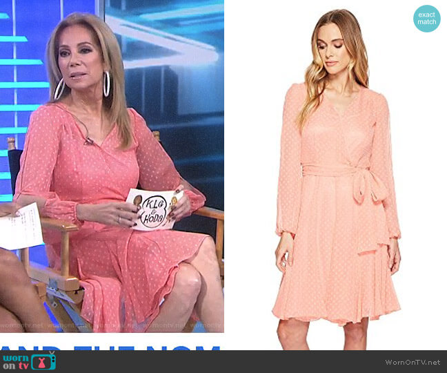 Split-Sleeve Wrap Swiss Dot Dress by Tahari ASL worn by Kathie Lee Gifford  on Today