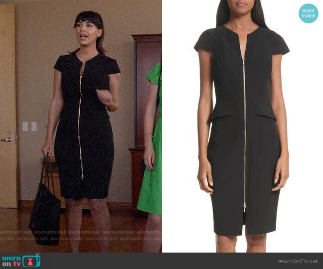Ted Baker Architectural Pencil Dress worn by Hannah Simone on New Girl