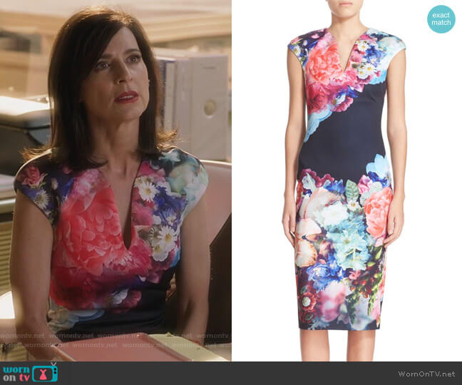 Brynee Floral Print Neoprene Sheath Dress by Ted Baker worn by Nina Devon (Perrey Reeves) on Famous in Love