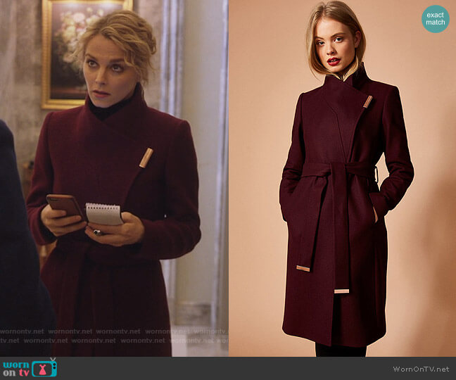 Kikiie Cashmere-blend Wrap Front Coat by Ted Baker worn by Bojana Novakovic on Instinct