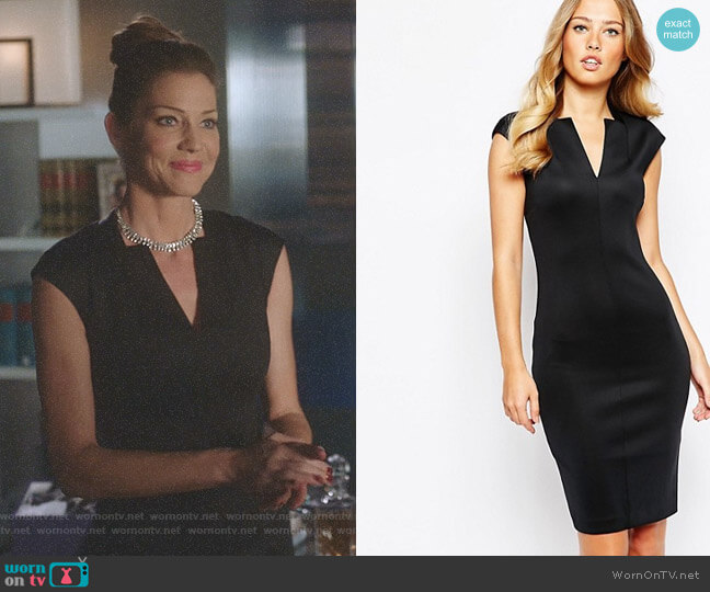 Chayad Neoprene Suit Dress by Ted Baker worn by Tricia Helfer on Lucifer