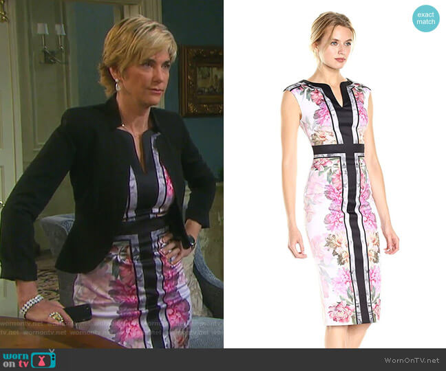 Shawnie Painted Posie Fitted Midi Dress by Ted Baker worn by Eve Donovan (Kassie DePaiva) on Days of our Lives