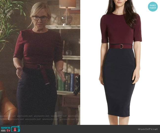 Lucifer Boo Normal: WornOnTV: Linda's Red And Navy Belted Dress On Lucifer