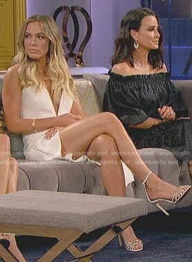 Teddi's white plunge dress on The Real Housewives of Beverly Hills
