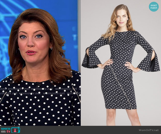 Polka Dot Zipper Dress by Teri Jon worn by Norah O'Donnell  on CBS This Morning