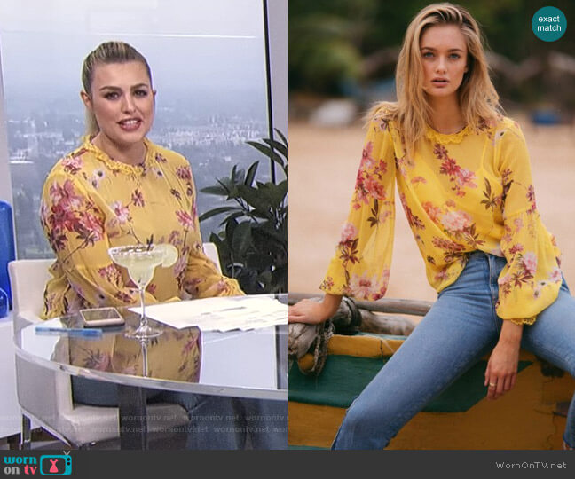 Moulin Jaune Silk Top by The Kooples worn by Carissa Loethen Culiner  on E! News