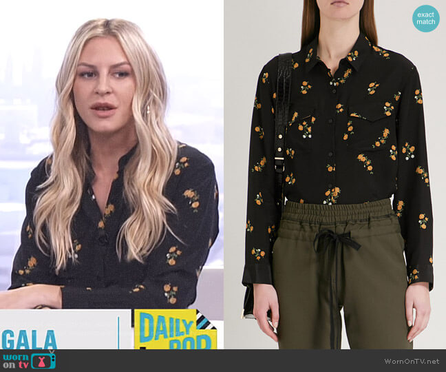 Popcorn flower-Print Silk Shirt by The Kooples worn by Morgan Stewart on E! News