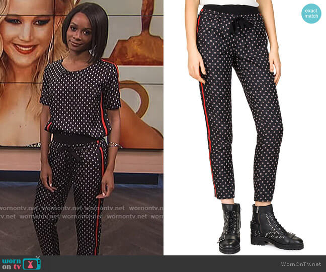 Ruby Flowers Floral-Print Jogger Pants by The Kooples worn by Zuri Hall on E! News