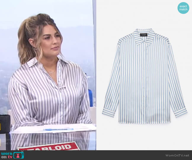 Striped Satin Silk Shirt by The Kooples worn by Carissa Loethen Culiner on E! News