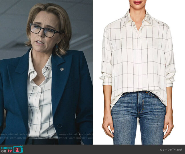 Sisea Windowpane-Checked Silk Satin Blouse by The Row worn by Elizabeth McCord (Téa Leoni) on Madam Secretary