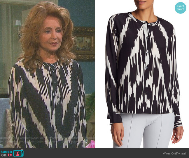 'Isalva' Silk Interlace Top by Theory worn by Suzanne Rogers on Days of our Lives