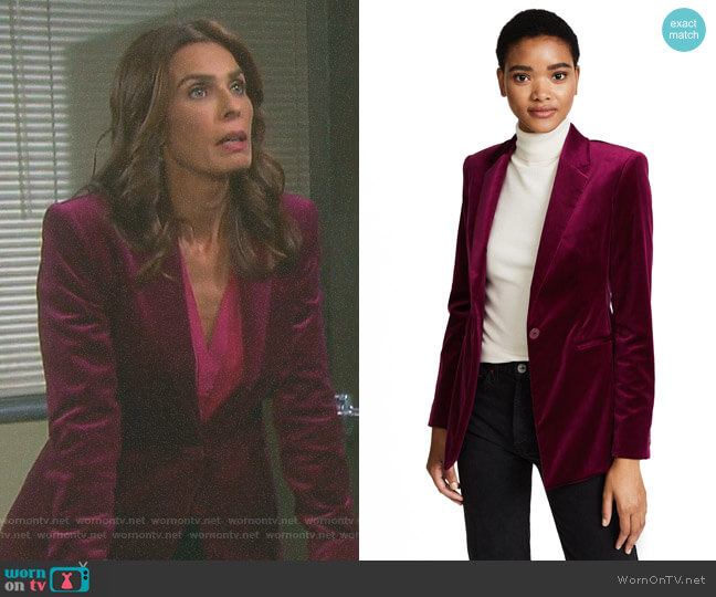 Velvet Power Jacket II by Theory worn by Kristian Alfonso on Days of our Lives
