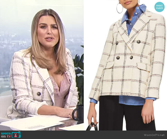 Check Double Breasted Blazer by Topshop worn by Carissa Loethen Culiner on E! News