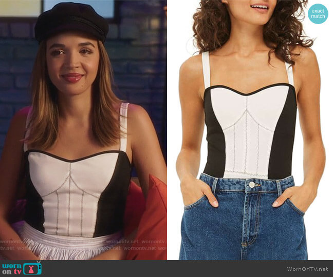 Corset Colorblock Bodysuit by Topshop worn by Cassandra (Georgie Flores) on Famous in Love