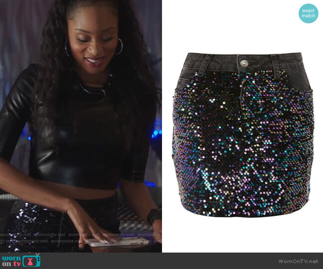 Moto Sequin Denim Mini Skirt by Topshop worn by Tangey Turner (Pepi Sonuga) on Famous in Love