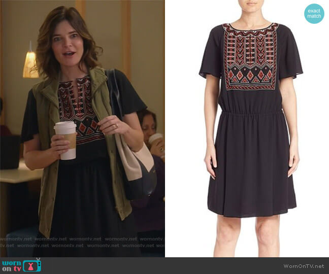 Bristol Boho Silk Short Sleeve Embroidered Dress by Tory Burch worn by Betsy Brandt on Life in Pieces