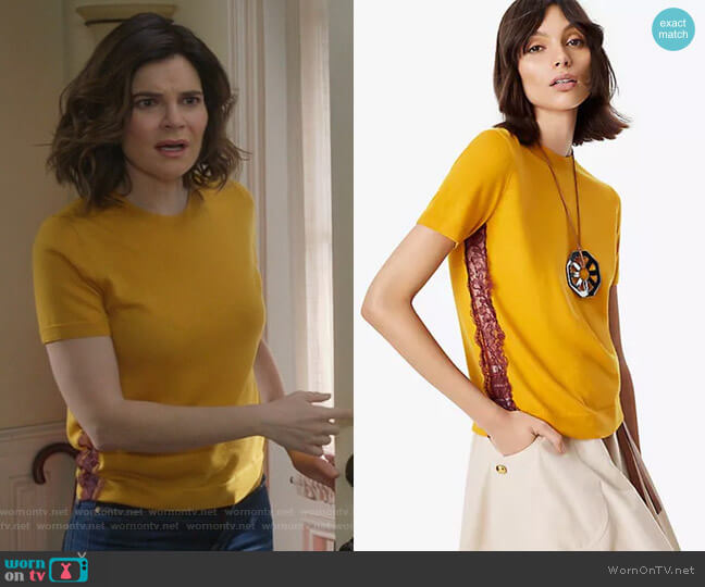 Ruby Lace Inset Sweater by Tory Burch worn by Betsy Brandt on Life in Pieces