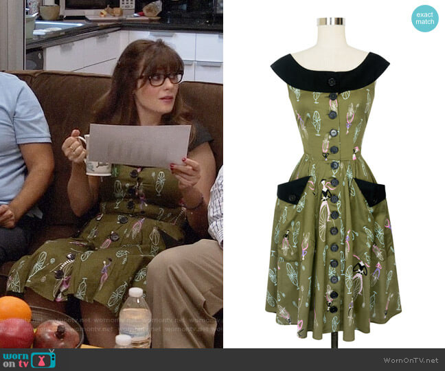 Trashy Diva Marcella Dress in Mime Time worn by Jessica Day (Zooey Deschanel) on New Girl