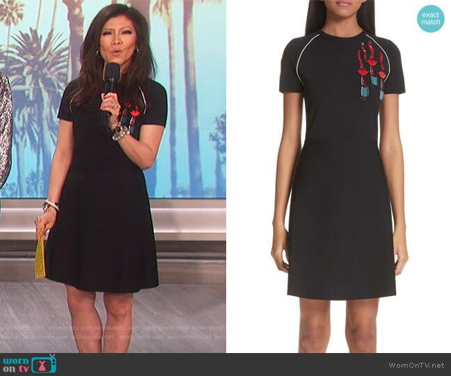Lipstick Embellished A-Line Dress by Valentino worn by Julie Chen on The Talk