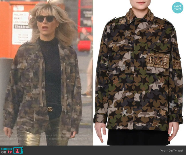 Star-Embroidered Camouflage Field Jacket by Valentino worn by Dorit Kemsley  on The Real Housewives of Beverly Hills