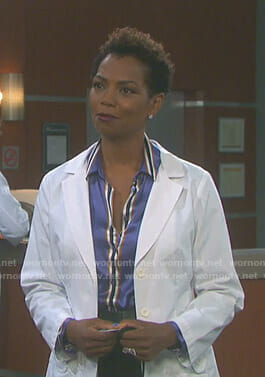 Valerie's purple striped shirt on Days of our Lives